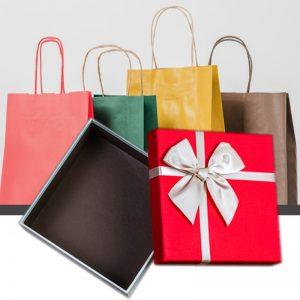 SHOPPING BAGS, RIBBONS & BOXES